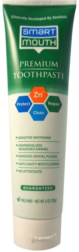smart mouth whitening toothpaste  fluoride clean mint
