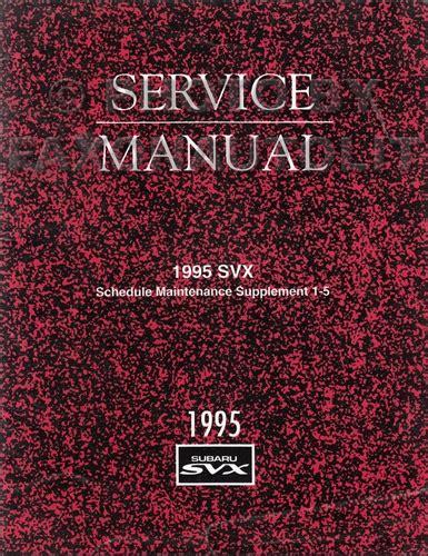 car maintenance manuals 1995 subaru svx electronic toll collection 1995 subaru svx repair shop manual supplement original