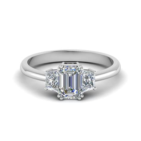 Emerald Engagement Rings by Emerald Cut Trapezoid Engagement Ring In 14k White