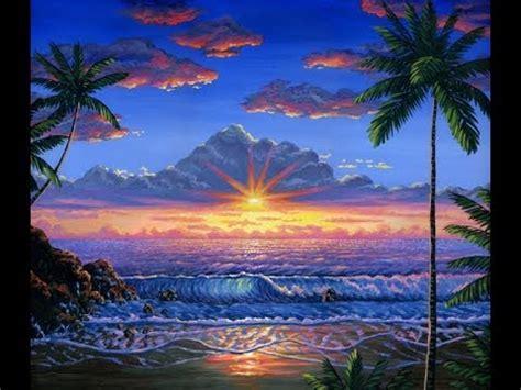 Cat Akrilik Kanvas cara melukis pantai saat matahari terbenam dengan