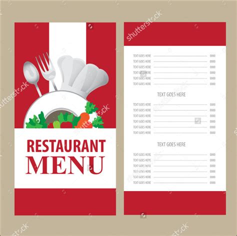 Template For Menu Card 27 menu card templates free sle exle format