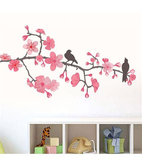 pink flower wall stickers stickerskart pink flowers branch wall sticker buy