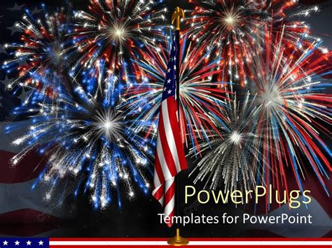 Powerpoint Template Red White And Blue Fireworks Behind Fireworks Templates Free