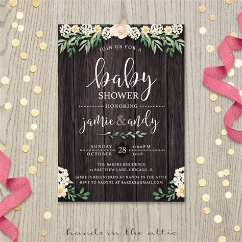 Rustic Themed Baby Shower Invitations by Rustic Baby Shower Invitation Printable Stationery