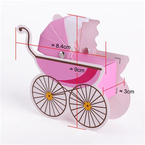 Baby Stroller Paper Box 50x laser cut baby carriage stroller favor gift wrap boxes shower ebay