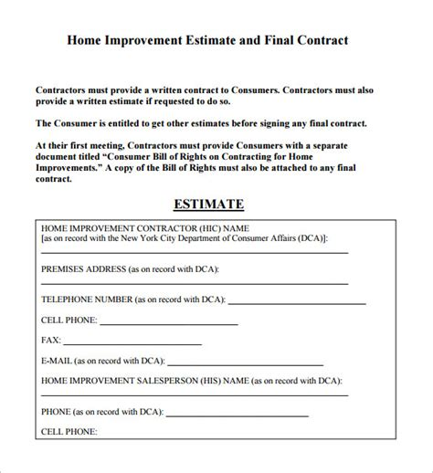 contractor estimate template 6 contractor estimate templates free word excel pdf