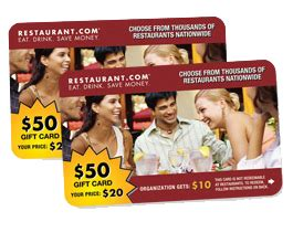 Restaurant Gift Card Fundraiser - 50 restaurant com fundraising card
