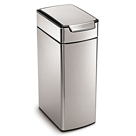 bed bath and beyond simplehuman trash can simplehuman 174 slim brushed stainless steel 40 liter touch