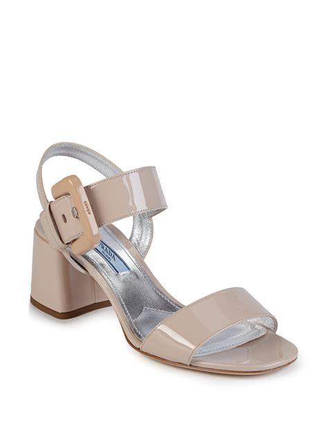 prada sandals lyst prada patent leather mid heel sandals in