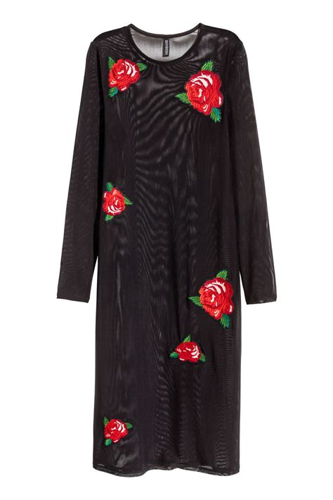H Caseli Dress Set Black embroidered mesh dress black h m us