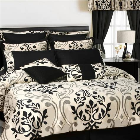 black bed in a bag black ivory and pewter scroll damask bedding bedroom