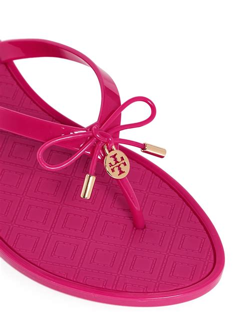 New Emboss Bio Jelly Shoes burch jelly bow embossed flip flops in pink lyst
