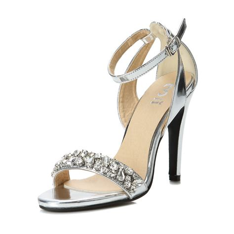silver high heels with ankle size 35 39 silver rhinestone high heels