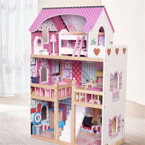 Modern Wooden Kids Dolls House Large Dolls House 17pcs