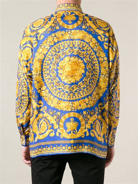 lyst versace baroque print shirt  yellow