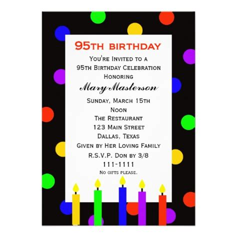 95th Birthday Party Invitation Candles And Dots 13 Cm X 18 Cm Invitation Card Zazzle 95th Birthday Invitation Templates