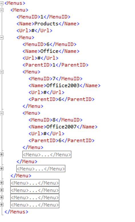 format date xml building a database driven hierarchical menu using asp net