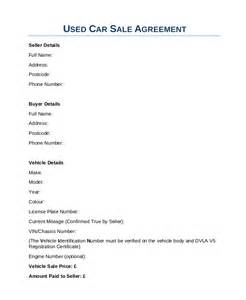 Sale Of Car Contract Template by Car Sales Contract Sle Vlashed