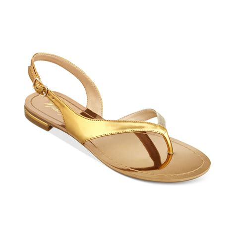 gold shoes flats marc fisher flats flat sandals in gold antic gold lyst
