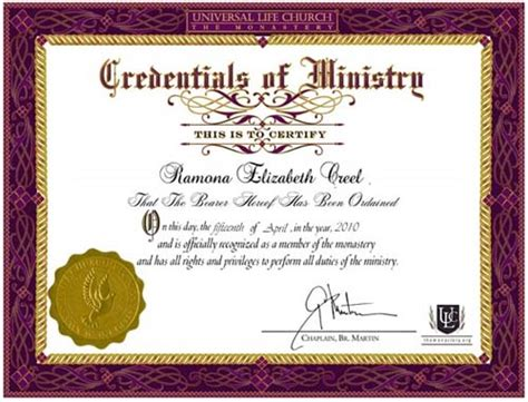 Ordination Certificate Templates   printable templates free