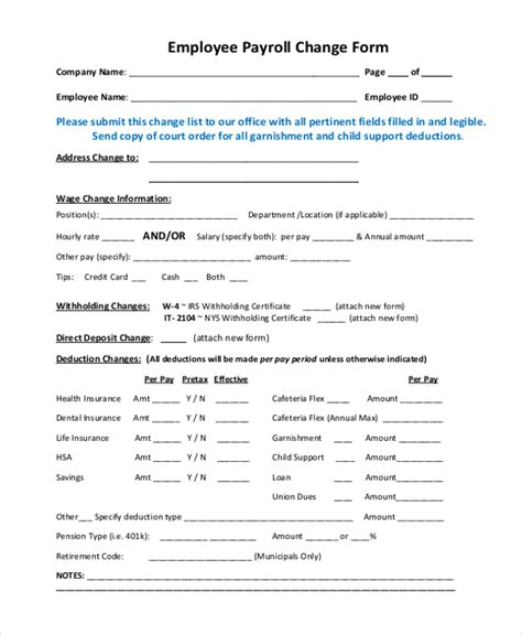payroll change form template free sle payroll change form 10 free documents in pdf