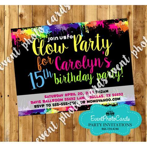 Glow Invitation Weddingku by Neon Glow Sweet 15 Invites Quinceanera Birthday