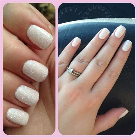 Manicure Gel baby shower 3d glitter nails white gel manicure with
