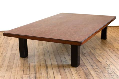 japanese lacquer low rectangular coffee table raised on