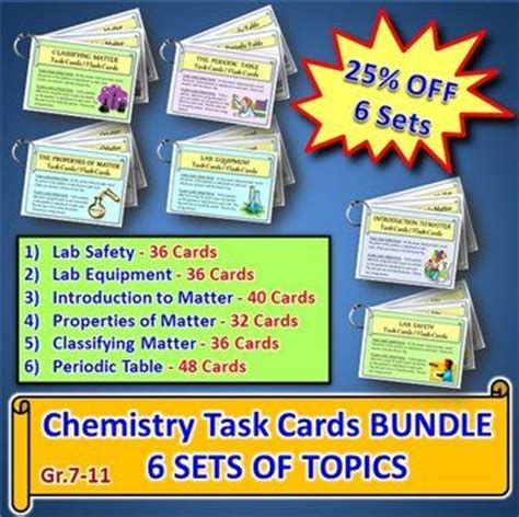 blank task card template chemistry task cards bundle 6 sets of topics with