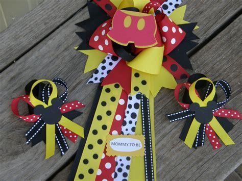 mickey mouse mum baby shower corsage set of 2 by bonbow on Etsy