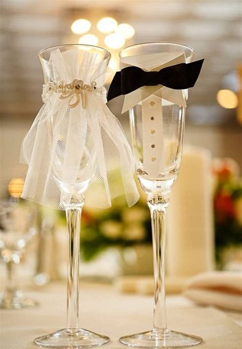 diy wedding chagne glasses ideas