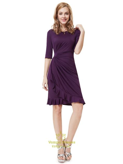Sleeve Sheath Cocktail Dress grape sheath chiffon knee length cocktail dresses with