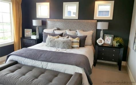 Grey And Yellow Master Bedroom by Oakwood Homes Model Home Tour
