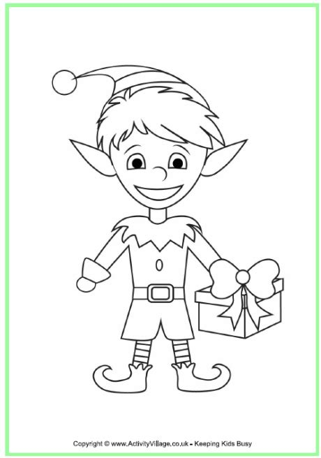coloring pictures of santa and elves christmas elf colouring page
