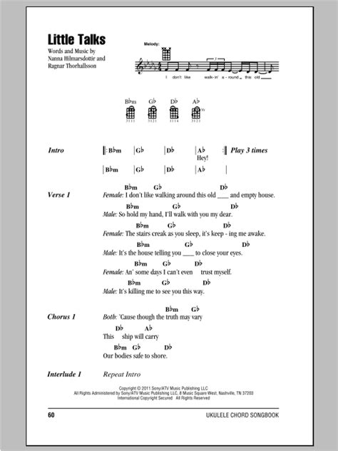 ukulele tutorial little talks little talks sheet music by of monsters and men ukulele