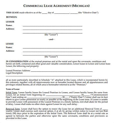printable commercial lease agreement 6 free commercial lease agreement templates excel pdf
