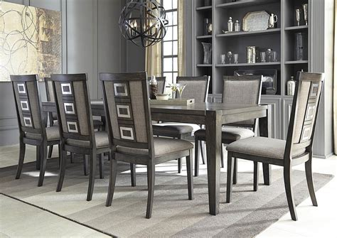 Side Chairs For Dining Room In Home Furniture Chadoni Gray Rectangular Dining Room Extension Table W 8 Upholstered Side Chairs
