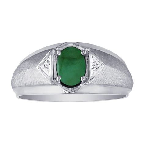 mens emerald and white ring in 10k white gold