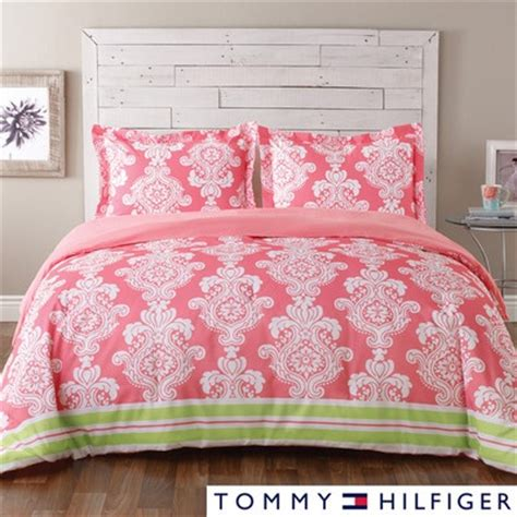 Pink And Green Comforter Sets by Hilfiger Bright Pink Green Damask 3p Comforter Set