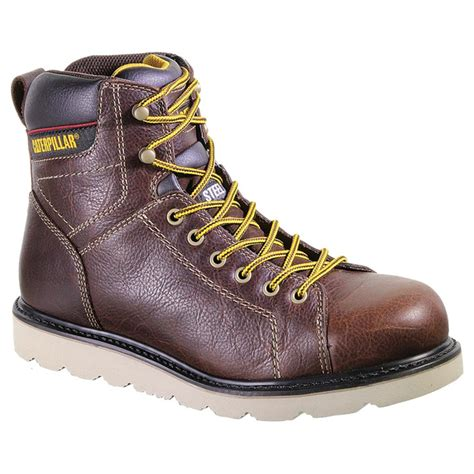 steel toe lace up work boots s cat 174 6 quot wister steel toe lace up work boots 582806