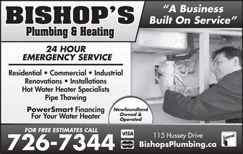 Bishop Plumbing by Bishop S Plumbing Heating 1998 Inc St S Nl 115 Hussey Dr Canpages
