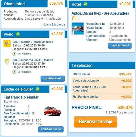 vuelo  menorca coche de alquiler  noches en apartamento por  euros viajeropedia