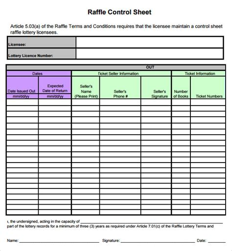 template for raffle tickets with numbers sle raffle sheet 5 exles format