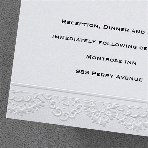 Wedding Invitations Embossed Border by Lace Embossed Border Additional Card S Flamingo