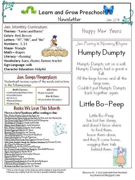 My Shae Noel All Things Wonderful January Preschool Newsletter Download Farms Newsletter Early Childhood Newsletter Templates
