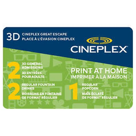 Movie Tickets Gift Card Costco - cineplex great escape 3d movie package