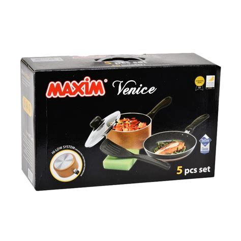 Maxim Venice Teflon Set 5pc jual maxim venice set alat masak 5 pcs harga