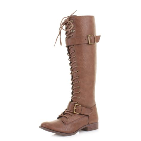 womens rocket beany lace up knee high