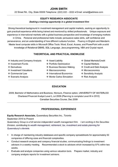 research assistant sle resume equity research associate resume sle template