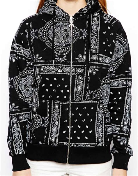bandana design hoodie lyst criminal damage hoodie with all over bandana print